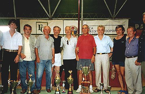 Franco Bitossi con gli altri due finalisti del Trofeo.